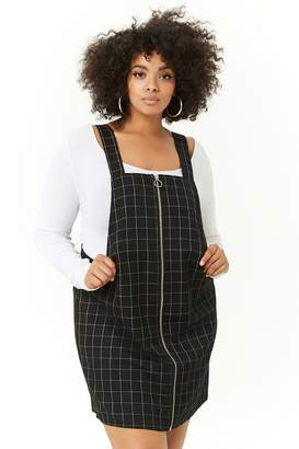 Forever 21 Plus Size Grid Print Overall Mini Dress