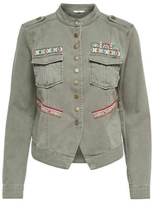 Only Embroidered Military Denim Jacket