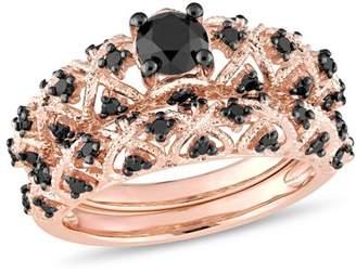 Black Diamond Asteria 1 Carat T.W. Rose-Plated Sterling Silver Vintage Bridal Set