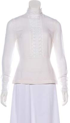 Yigal Azrouel Silk Lace-Trimmed Top