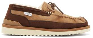 Suicoke M2ab Shearling Lined Suede Loafers - Mens - Brown