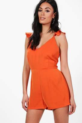 boohoo Emily Ruffle Shoulder Backless Woven Playsuit