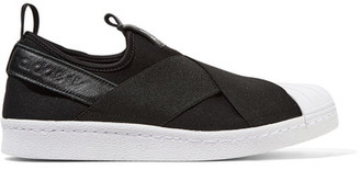 Adidas Originals - Superstar Leather-trimmed Neoprene Slip-on Sneakers - Black $75 thestylecure.com