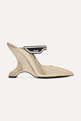 Prada 110 Logo-appliquéd Mirrored-leather Mules - Metallic
