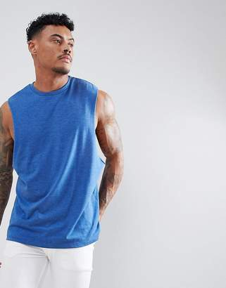 Asos DESIGN tank with dropped arm hole in blue