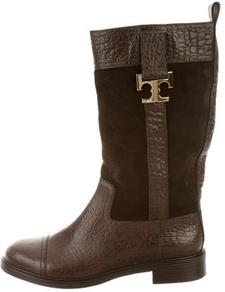 Tory Burch Tory Burch Embossed Mid-Calf Boots