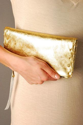 Kettle Black Gold Patent Clutch