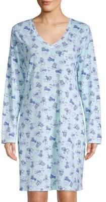 Carole Hochman Printed V-Neck Sleepshirt