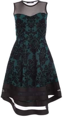 Quiz Bottle Green Glitter Dip Hem Dress