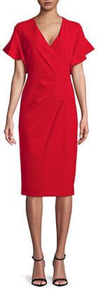 Rachel Roy Ruffle Sleeve Crepe Midi Dress
