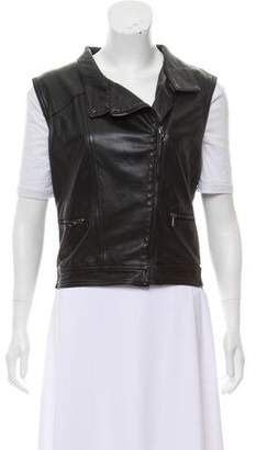 Rag & Bone Leather Zip-Up Vest