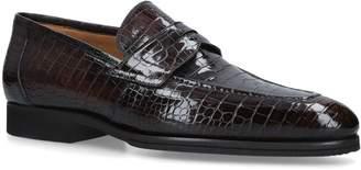Brotini Crocodile Leather Penny Loafers
