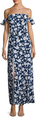 Lucca Couture Off-The-Shoulder Floral Maxi Dress, Blue/Multi $69 thestylecure.com