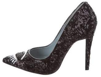 Chiara Ferragni Sequin Pointed-Toe Pumps w/ Tags