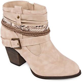 POP Womens Dashielle Cowboy Boots Block Heel