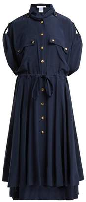 Chloé Tie Waist Crepe Midi Dress - Womens - Navy