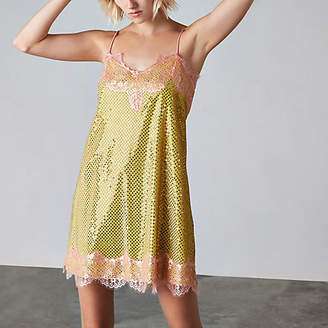 River Island Womens Yellow Ashish sequin lace slip dress