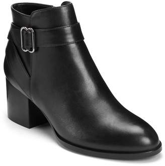 Aerosoles Stacked-Heel Leather Ankle Boots - Maggie