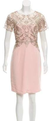 Marchesa Lace-Accented Silk Dress