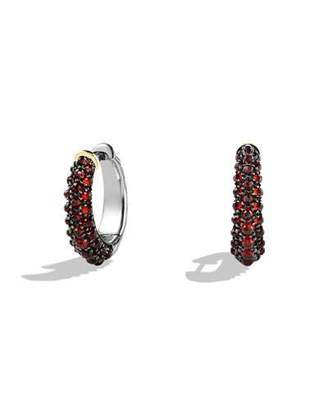 David Yurman Osetra Hoop Earrings with Garnet and Gold $1,850 thestylecure.com