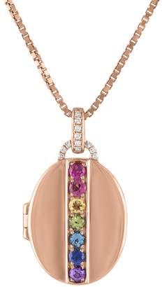 story. My Rainbow Multi-Gemstone Oval Locket Necklace - Rose Gold