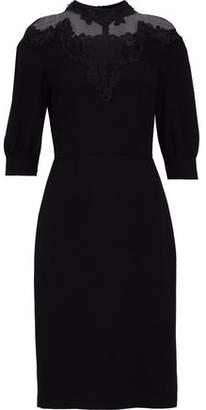 Prada Lace-Trimmed Chiffon And Cady Dress