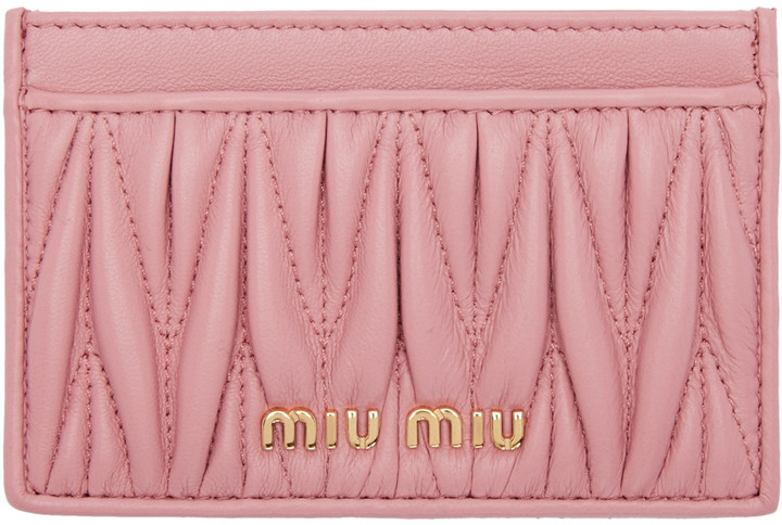 Miu Miu Miu Miu Pink Matelassé Card Holder