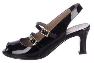 Anyi Lu Patent Leather Peep-Toe Sandals