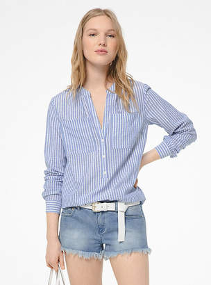 Michael Kors Metallic Shadow Stripe Cotton Shirt