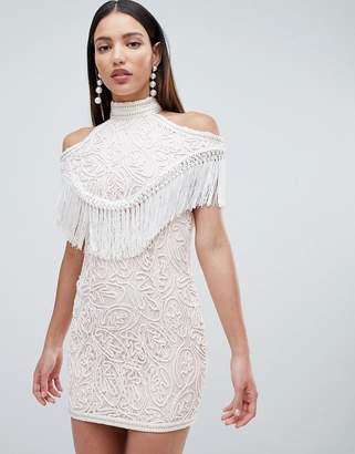 Forever Unique Embellished Cold Shoulder Dress
