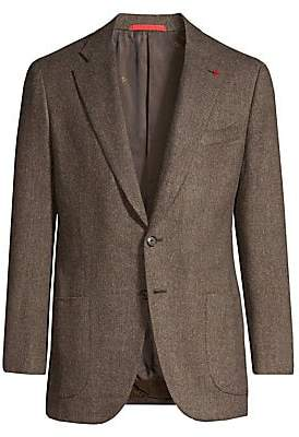 Isaia Men's Dustin Single-Breasted Herringbone Wool Jacket