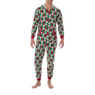 ONESIES Fleece Onesies One Piece Pajama Santa Print-Mens