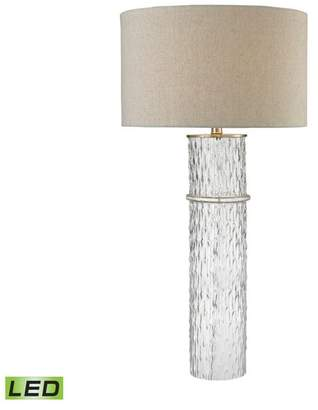 Dimond Lighting Two Tier Glass LED Table Lamp With Gray Linen Shade