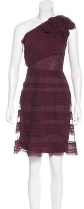 Robert Rodriguez One-Shoulder Mesh Dress