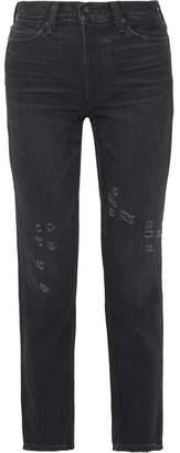 Vince (ヴィンス) - Vince - Distressed High-rise Straight-leg Jeans - Black