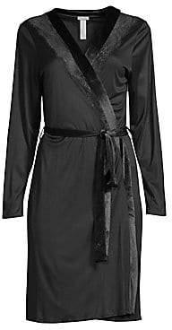 Hanro Women's Lace Insert Belted Robe