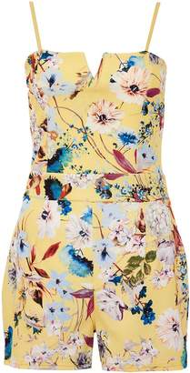 Quiz Yellow Floral Strappy Playsuit