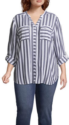 A.N.A 3/4 Sleeve Button-Front Stripe Shirt - Plus