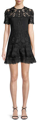 Jonathan Simkhai Embroidered Lace Fit-and-Flare Crepe Mini Dress