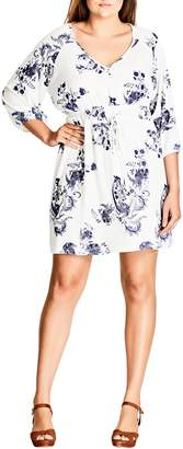 City Chic Shinjuku Print Tunic Dress