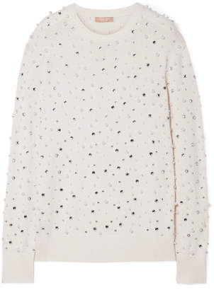 Michael Kors Faux Pearl And Crystal-embellished Cashmere Sweater - Ivory