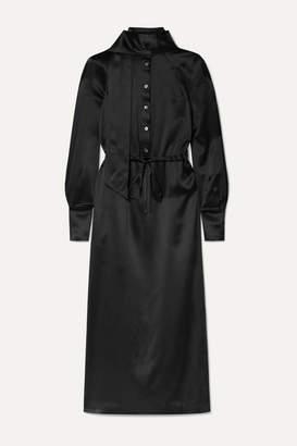 Fleur Du Mal Open-back Silk-satin Midi Dress - Black