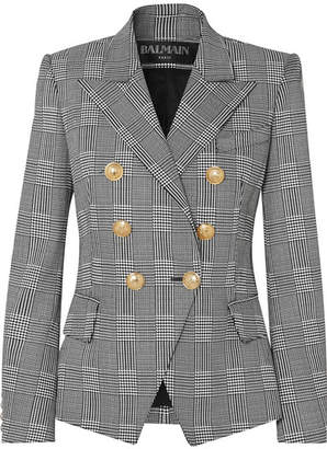 Balmain Double-breasted Prince Of Wales Checked Cotton-blend Blazer - Black