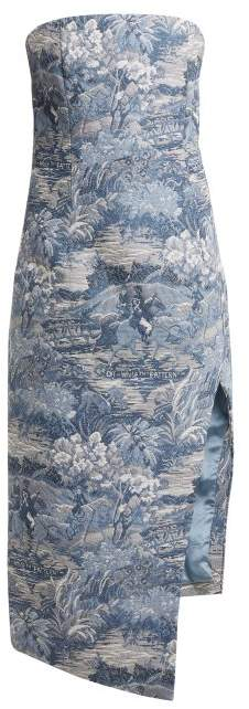 Off White Tapestry Jacquard Bustier Dress - Womens - Blue White