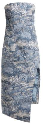 Off-White Off White Tapestry Jacquard Bustier Dress - Womens - Blue White