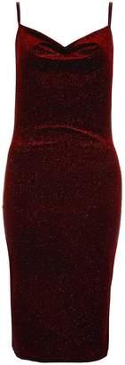 Quiz Wine Velvet Glitter Midi Dress