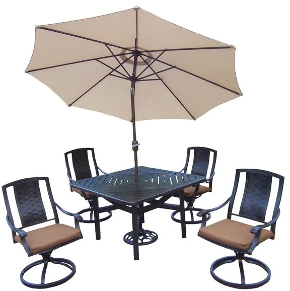 Oakland Living Corporation Oakland Living Vanguard Sunbrella Aluminum 7-piece Swivel Rocker Dining Set