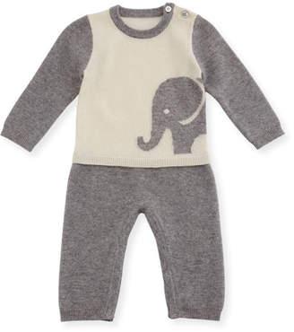 Sofia Cashmere Two-Piece Elephant Pajama Set, Size 3-12 Months