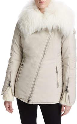Moncler Choisia Asymmetric-Zip Jacket w/ Fur Trim
