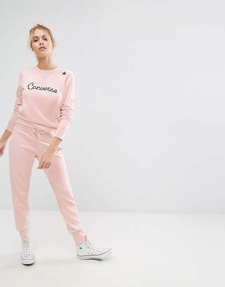 Converse Essentials Star Graphic Joggers In Pink